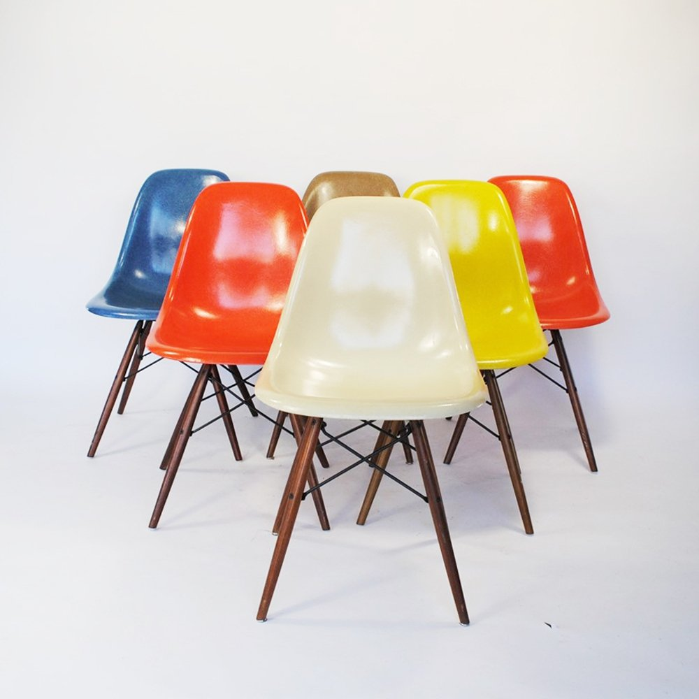 Set Of 6 Dsw Dining Chairs By Charles Ray Eames For Herman Miller 1950s 96983