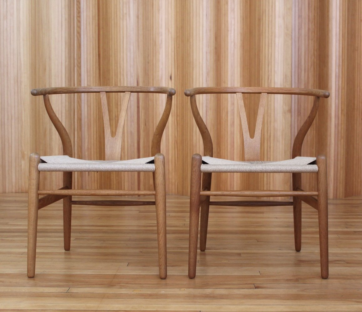 Wishbone Chairs Pair Of Hans Wegner Oak Ch24 Wishbone Chairs For Carl Hansen Son Denmark