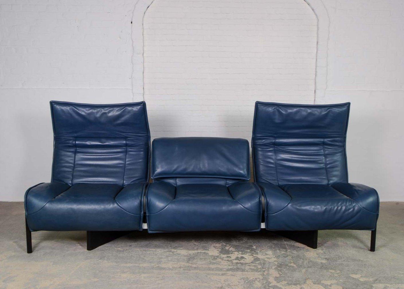 Mid Century Italian Design Adjustable Petrol Leather Veranda Sofa By Vico Magistretti For Cassina 65245