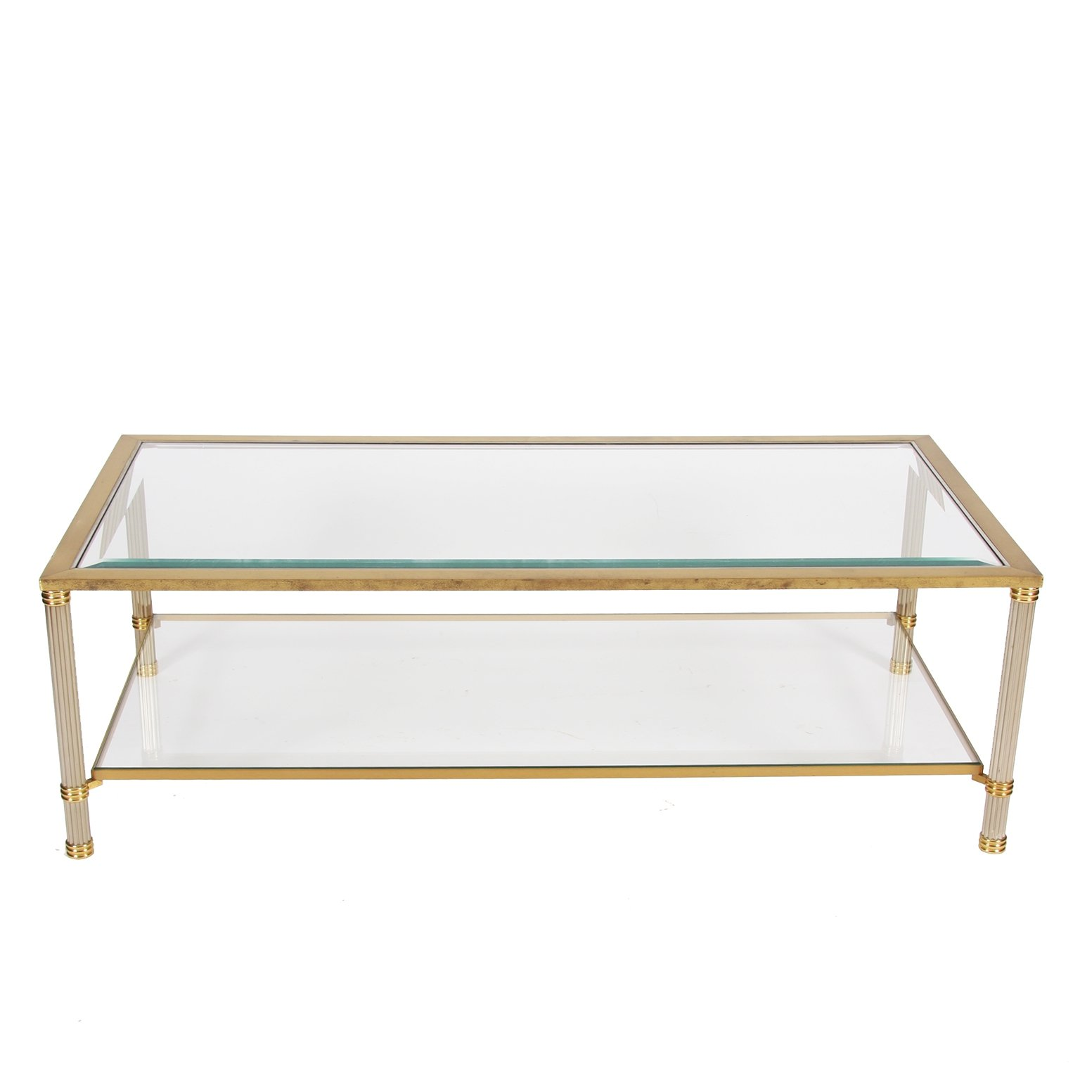 two tier brass bevelled glass coffee
