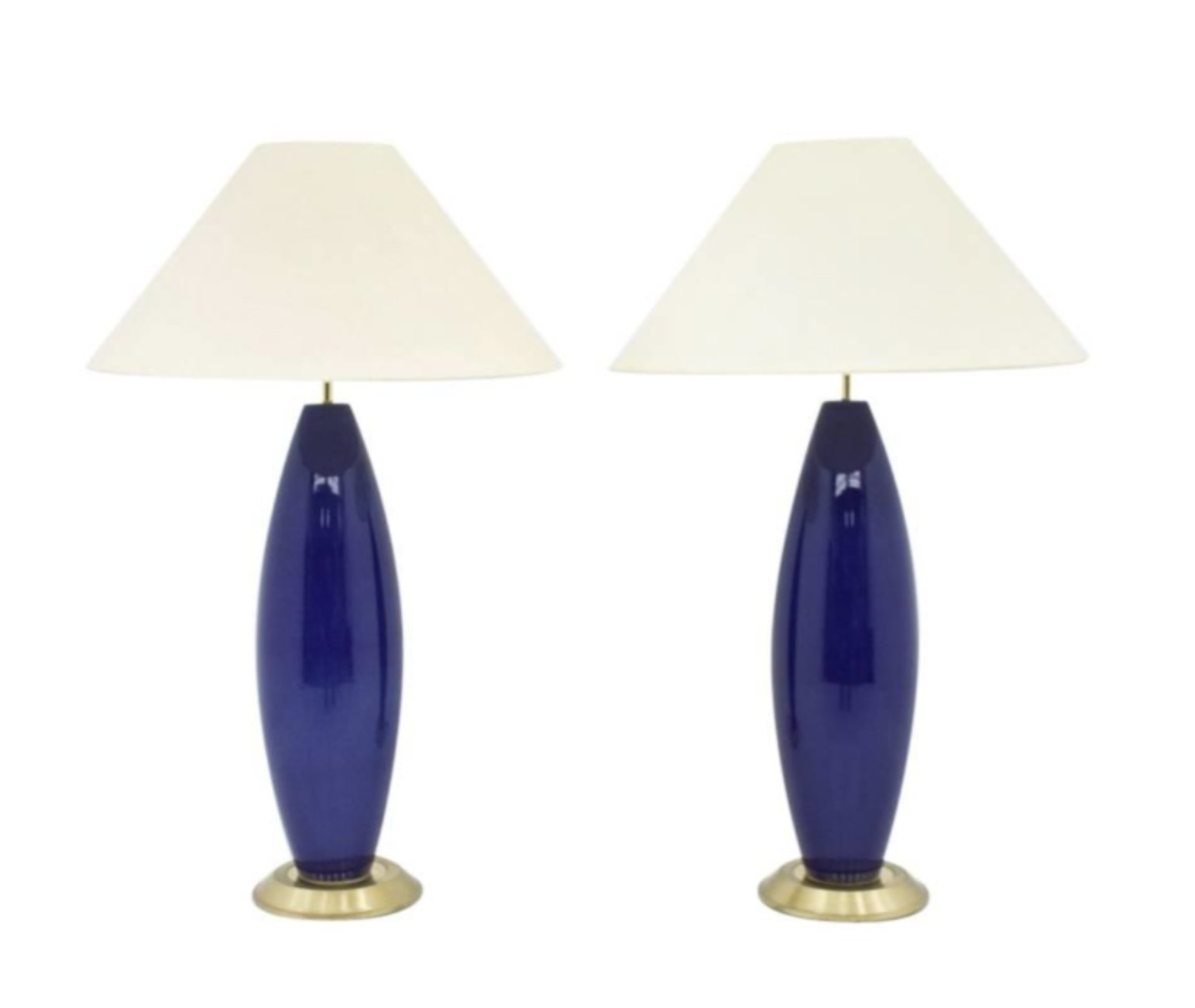 Pair Of Cobalt Blue Glass Table Lamps With Brass Base 1970s 85194