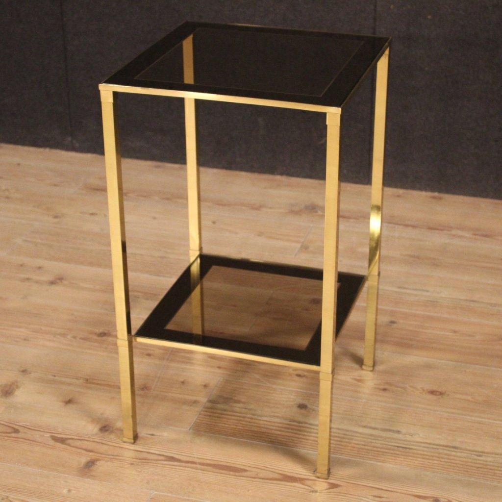 20th century gold metal glass italian design side table 1970