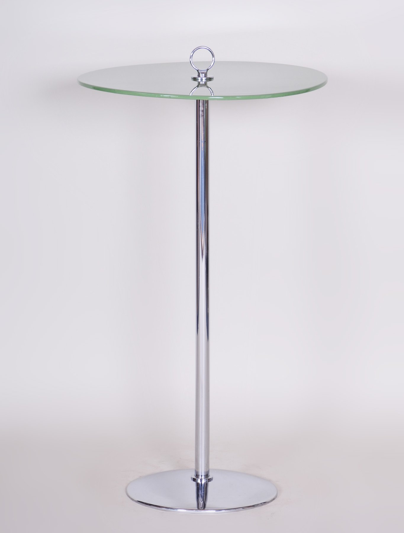 Small Tall Side Table In Chrome Lacquered Wood 1940s 119884