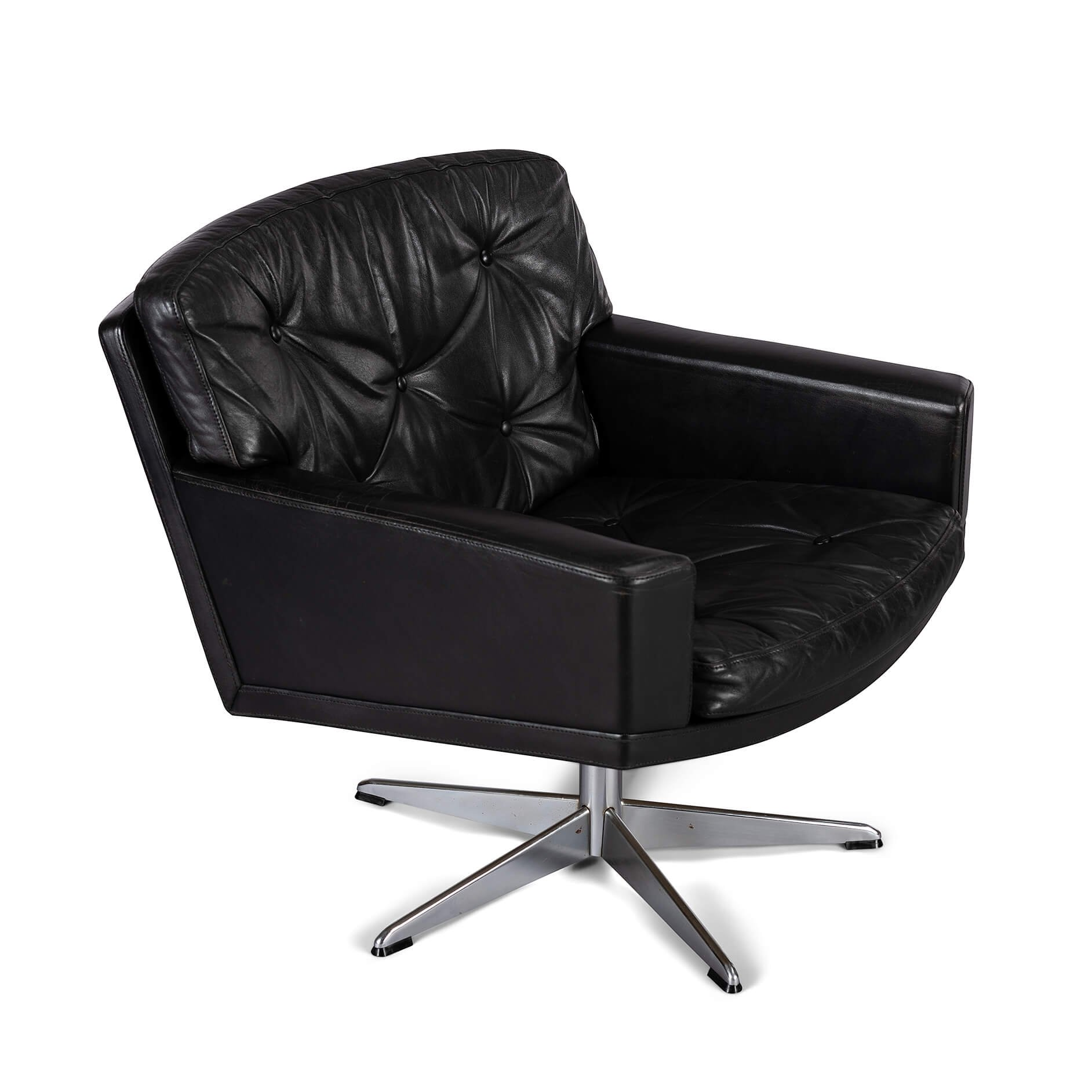 Black Leather Midcentury Modern Swivel Chair By Lystager 1960s 124125