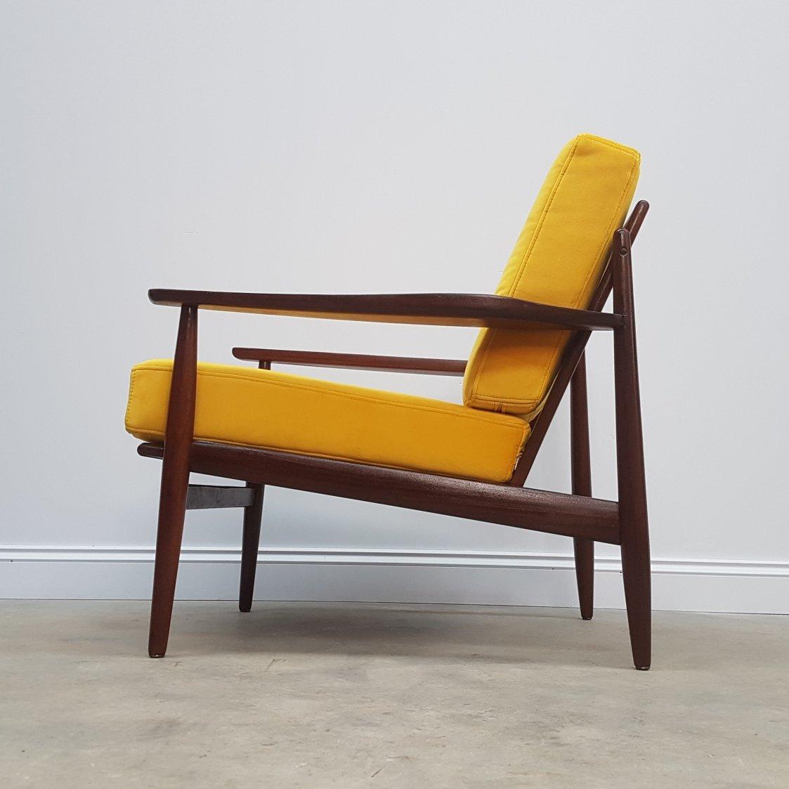 1960 S Danish Lounger Club Chair In Golden Yellow Luxury Velvet 124229
