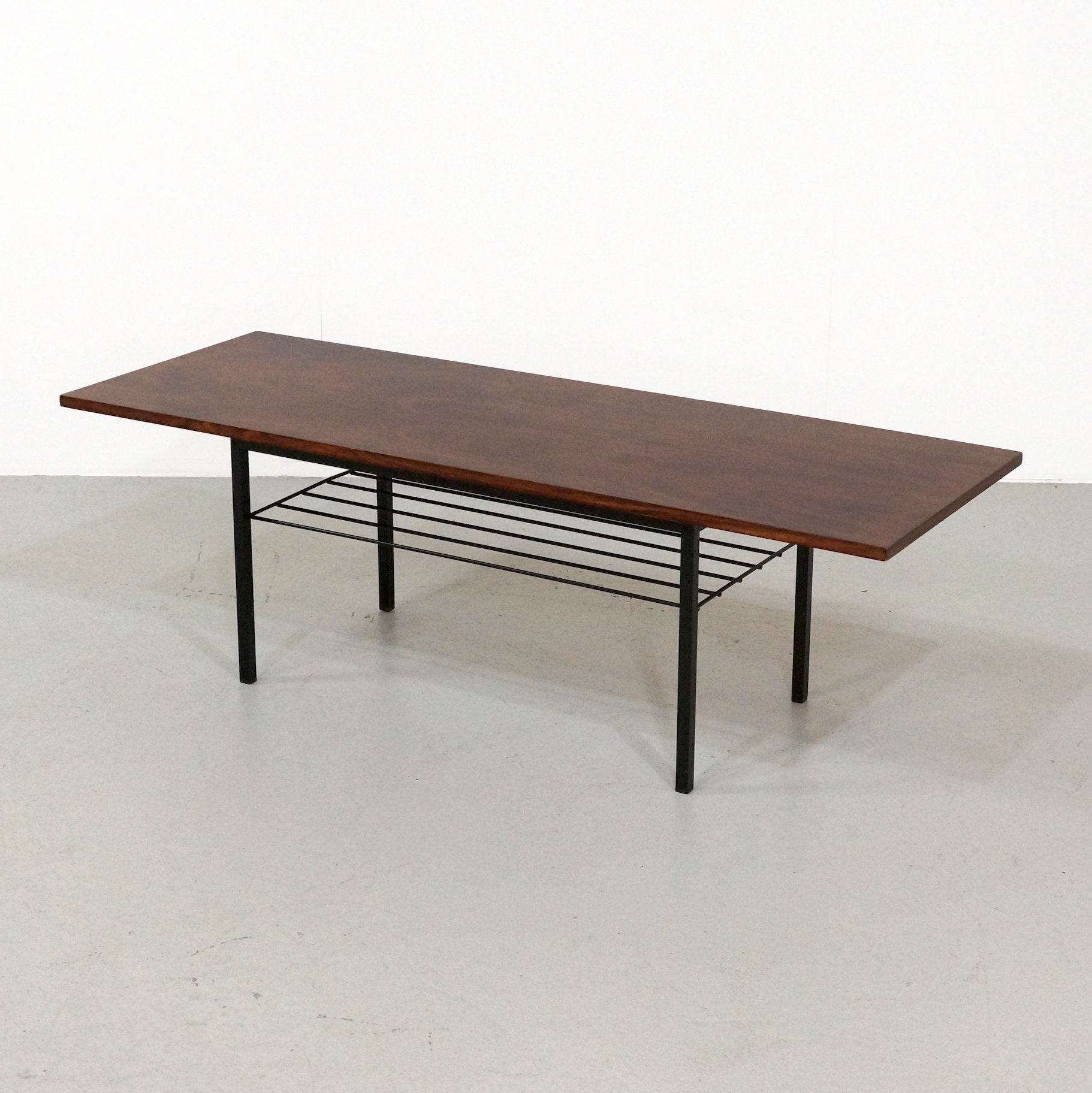 mid century rosewood coffee table with metal base 1960s