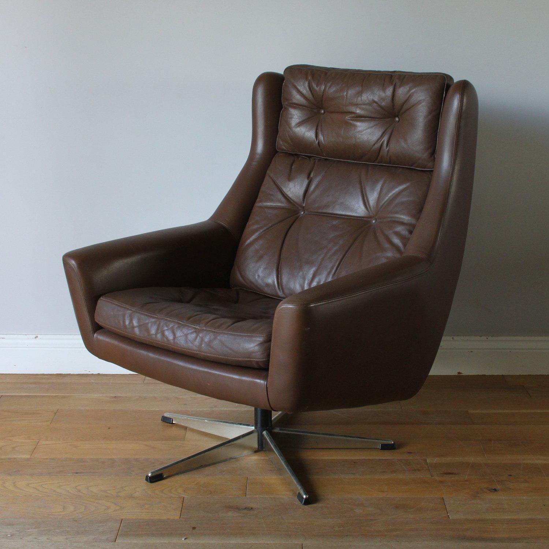 Danish Midcentury Brown Leather Siesta Swivel Chair By Eran Mobler 137417