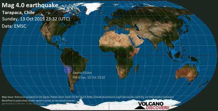 Lumière mag. Tremblement de terre de 4.0 - Tarapaca, Chili, le dimanche 13 octobre 2019
