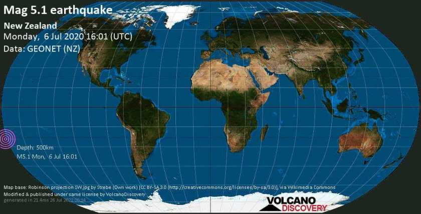 Moderate mag. 5.1 earthquake  - New Zealand on Monday, 6 July 2020