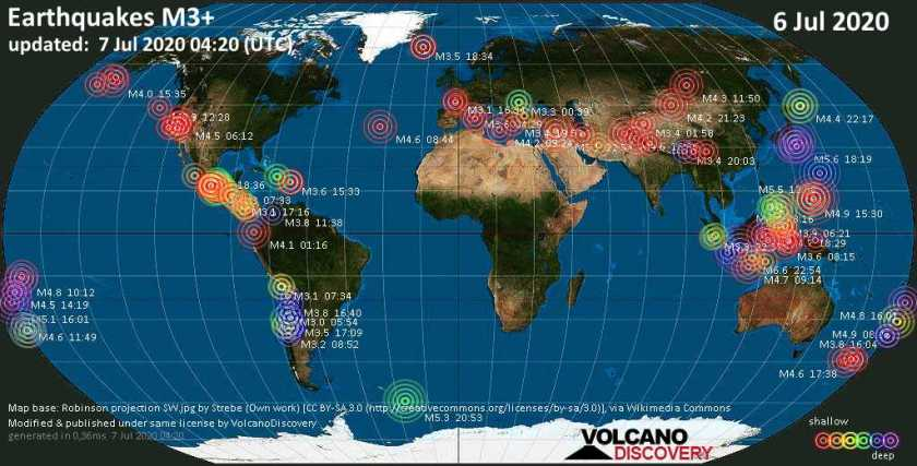 World map showing earthquakes above magnitude 3 during the past 24 hours on  6 Jul 2020