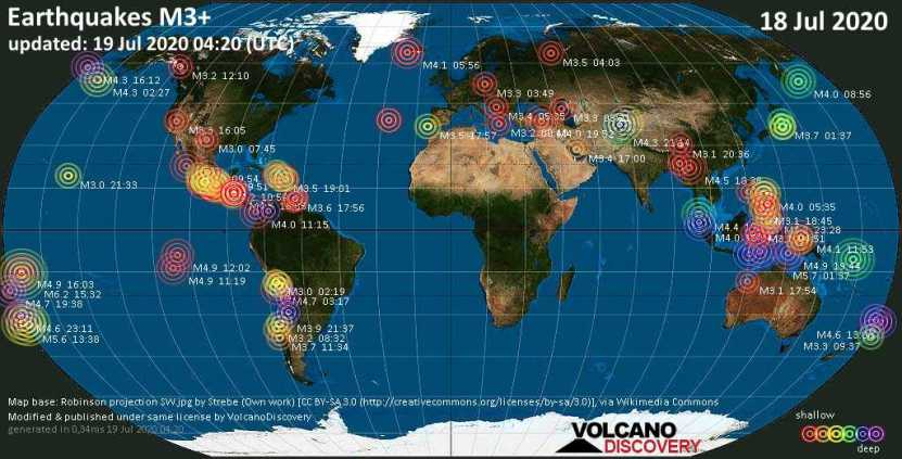 World map showing earthquakes above magnitude 3 during the past 24 hours on 18 Jul 2020