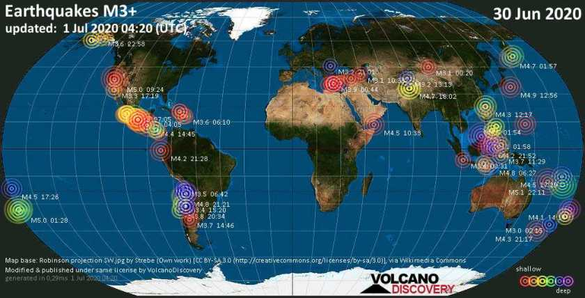 World map showing earthquakes above magnitude 3 during the past 24 hours on 30 Jun 2020