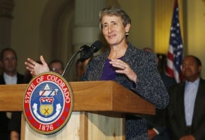Interior Secretary Sally Jewell makes point during news conference in the State Capitol in Denver on Friday, Nov. 21, 2014. Federal and state officials reached an agreement that they hope will help protect the Roan Plateau in north-central Colorado while also encouraging natural gas development. (AP Photo/David Zalubowski)