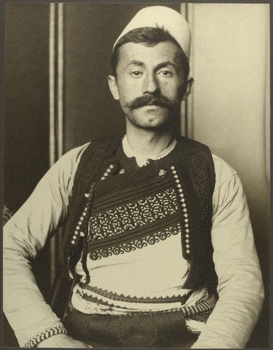 An Albanian soldier. Portraits from Ellis Island, Augustus Sherman.