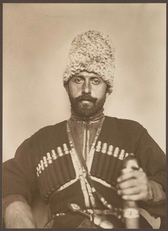 A Cossack man from the steppes of Russia. Portraits from Ellis Island, Augustus Sherman.