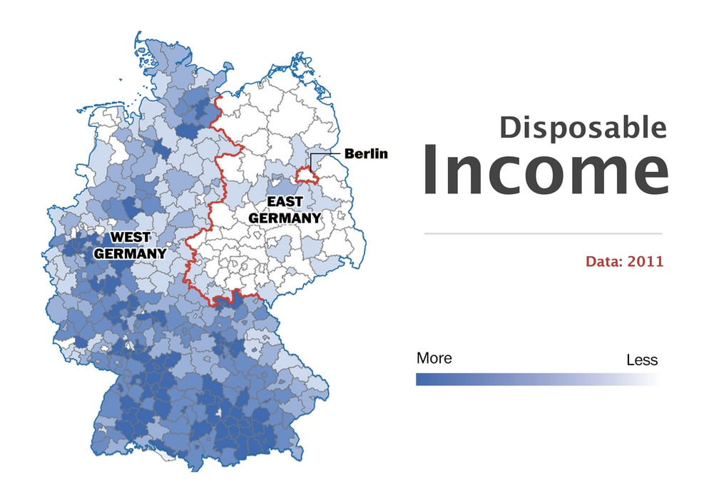 Disposable income in West Germany v. East Germany (WAPO)