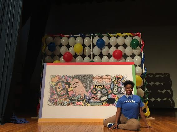 Akilah Johnson, at Eastern Senior High in the District, poses with her winning Doodle. (courtesy of Google 2016)