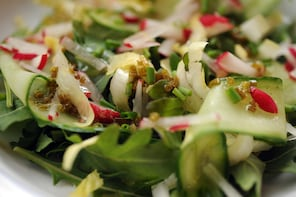 VIENNA, VA, JANUARY 9, 2013: Winter salad of shaved cucumber, radish and endive with lemon vinaigrette. Dishware courtesy of Crate & Barrel. (Photo by ASTRID RIECKEN For The Washington Post)