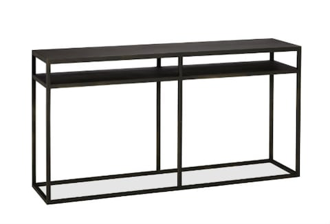 lack sofa table as desk modular 1 lugar small space living console tables can help give you a leg up the black iron shelves and simple straight lines make burke serious piece but it easily be dressed down with potted plants