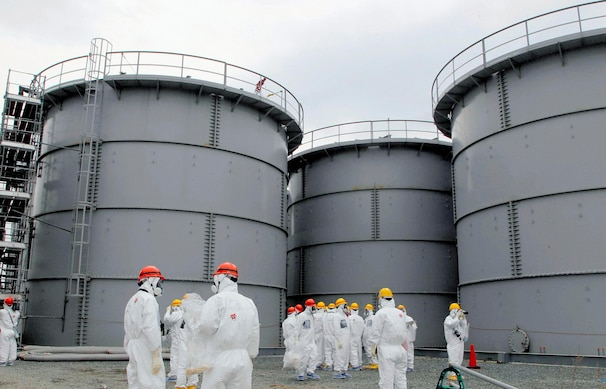 Tanks of radiation-contaminated water are seen at TEPCO's nuclear power plant in Fukushima.