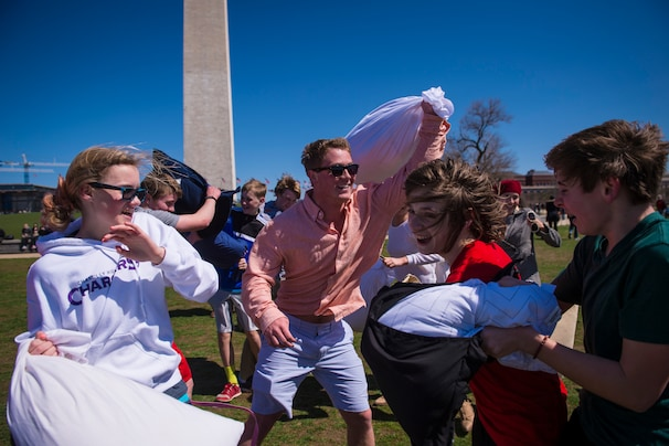 On International Pillow Fight Day, foes are friends of a