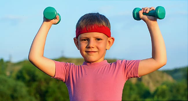 boy lifting weights