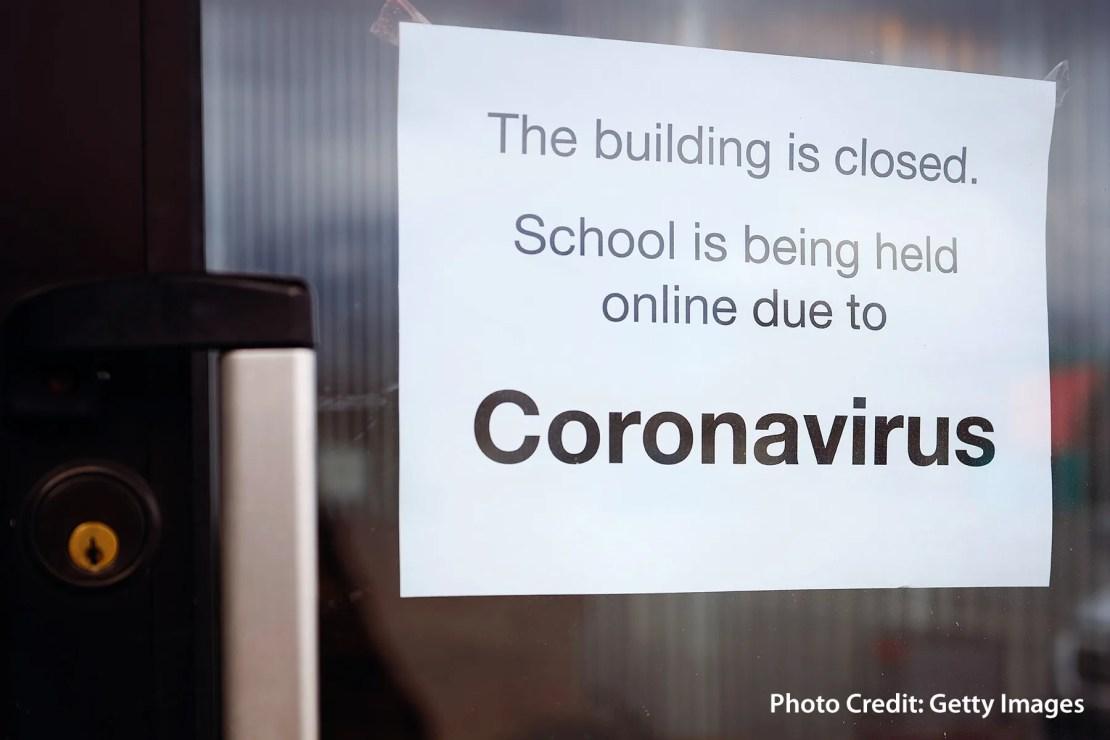 photo of coronavirus college sign