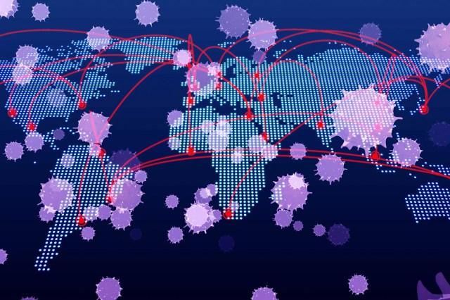 foto van wereldkaart bedekt met ziekte