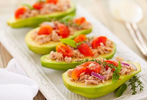 avocados stuffed with fish and vegetables