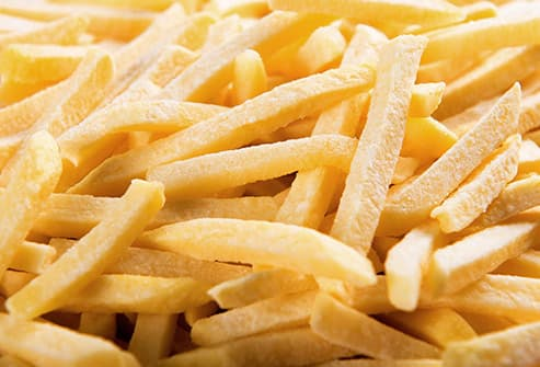 frozen french fries close up