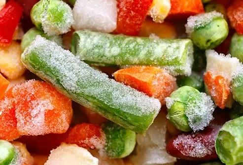 mixed frozen vegetables close up