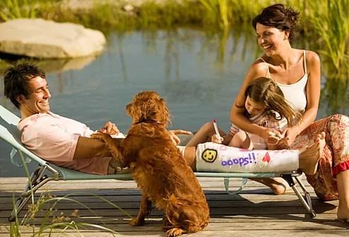 Man in leg cast enjoying family time