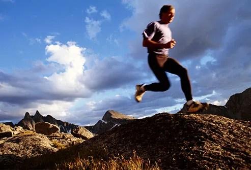 Man jogging over foothills