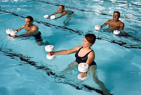 Mature adults in aquatics class