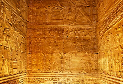 Hieroglyphics on ancient chamber walls