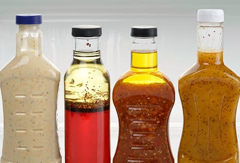 bottles of salad dressing