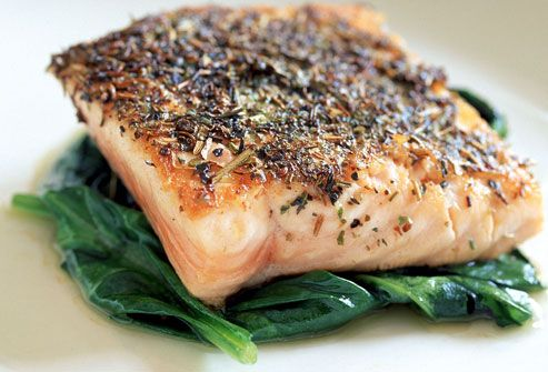 Atlantic salmon on spinach