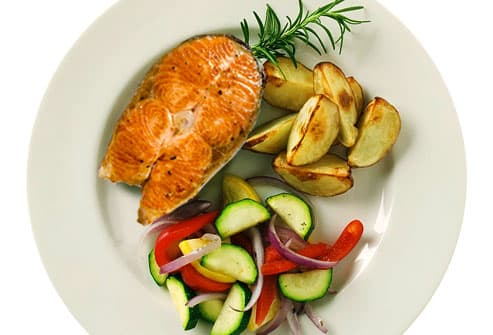 Top Cancer-Fighting Foods- New American Plate with Salmon and Vegetables