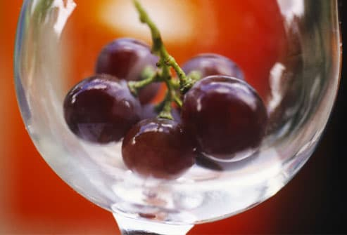 Red Grapes in Glass Bowl