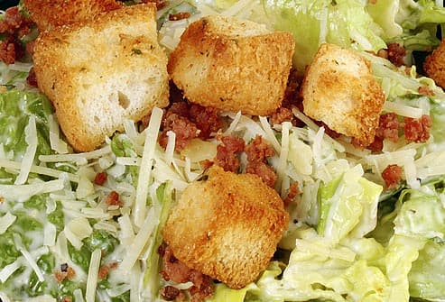 Close Up of Caesar Salad