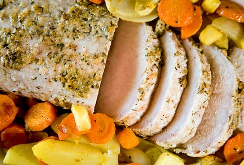 Roast pork tenderloin with vegetables