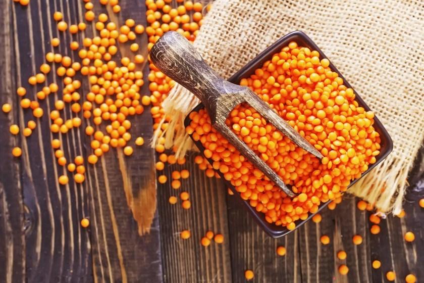 orange lentils in bowl