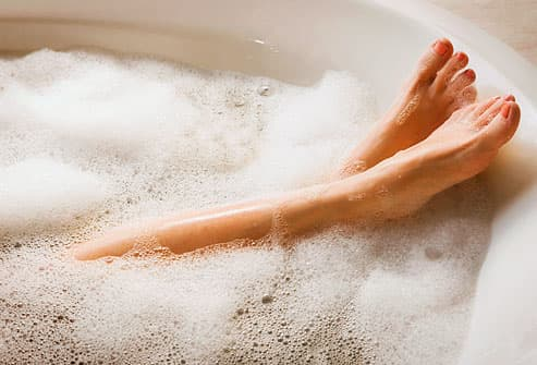 warm bath to reduce stress