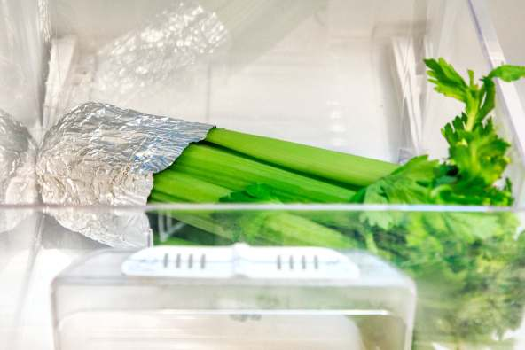 photo of celery wrapped in aluminum