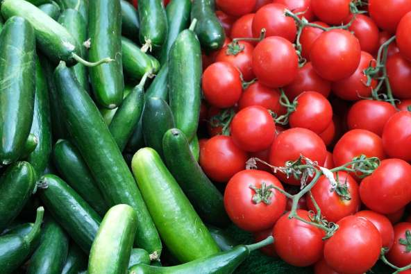 photo of cucumbers and tomatoes