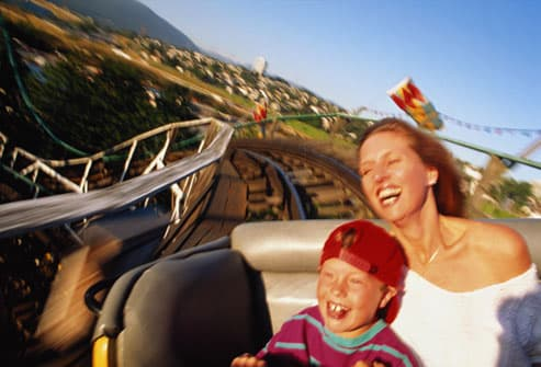 Mom and Son on Rollercoaster