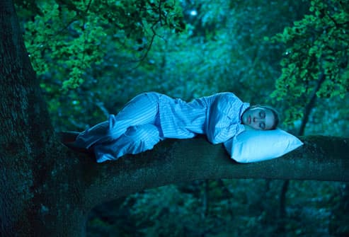 Woman visualizing sleeping in tree