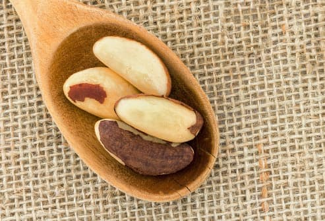 brazil nuts in a wooden spoon