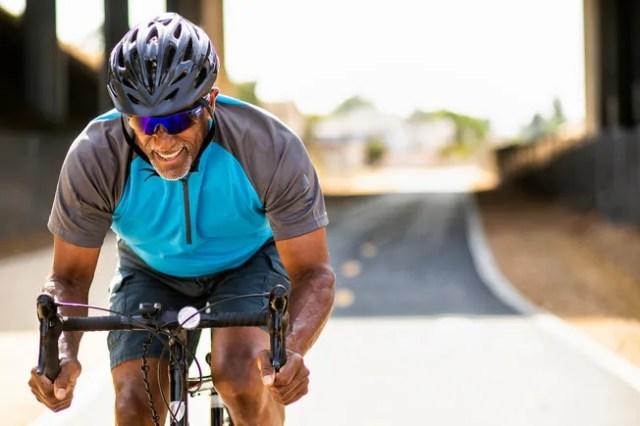 photo of mature man cycling