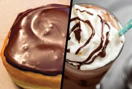boston cream doughnut and frappucino diptych
